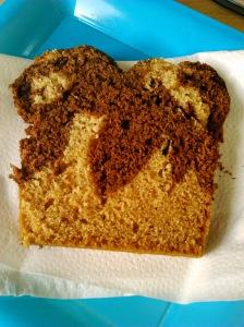 tranche cake marbré chocolat-vanille végan